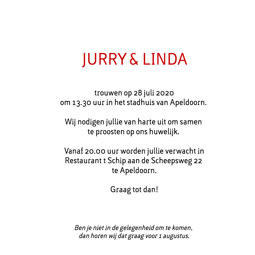 Trouwkaart Jurry en Linda 3