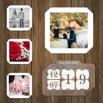 Trouwkaart kalender op hout RB