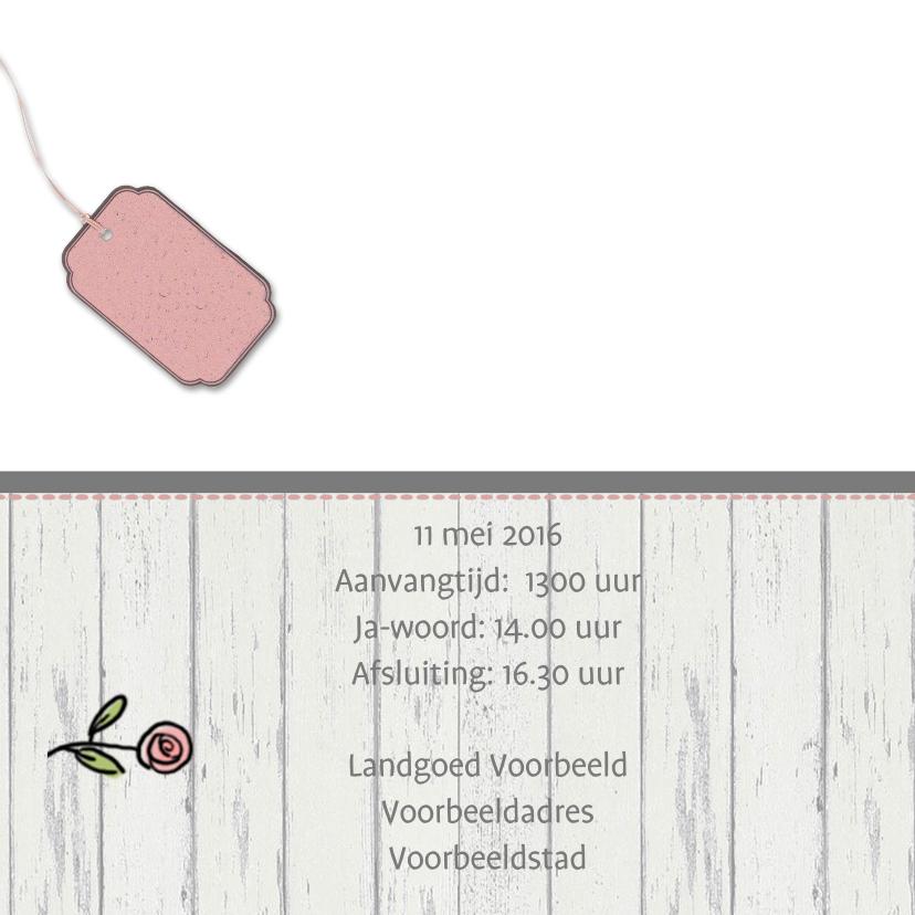 Trouwkaart Kever wit met hout 2