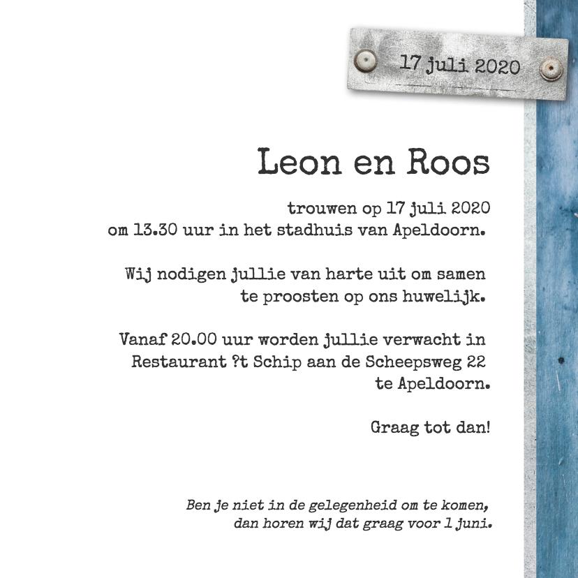 Trouwkaart Leon en Roos 3