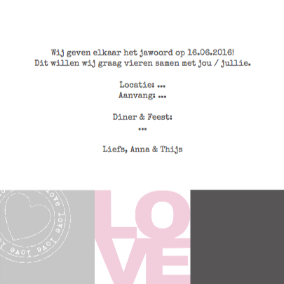 Trouwkaart Love Vakjes 3