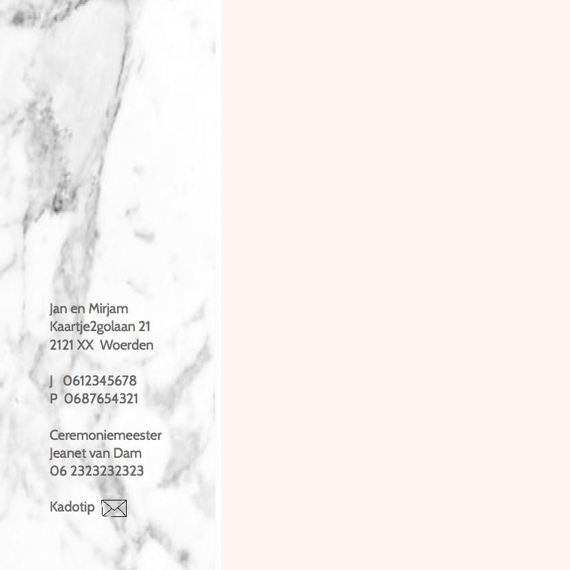 Trouwkaart marmer geo roze en marmer 2