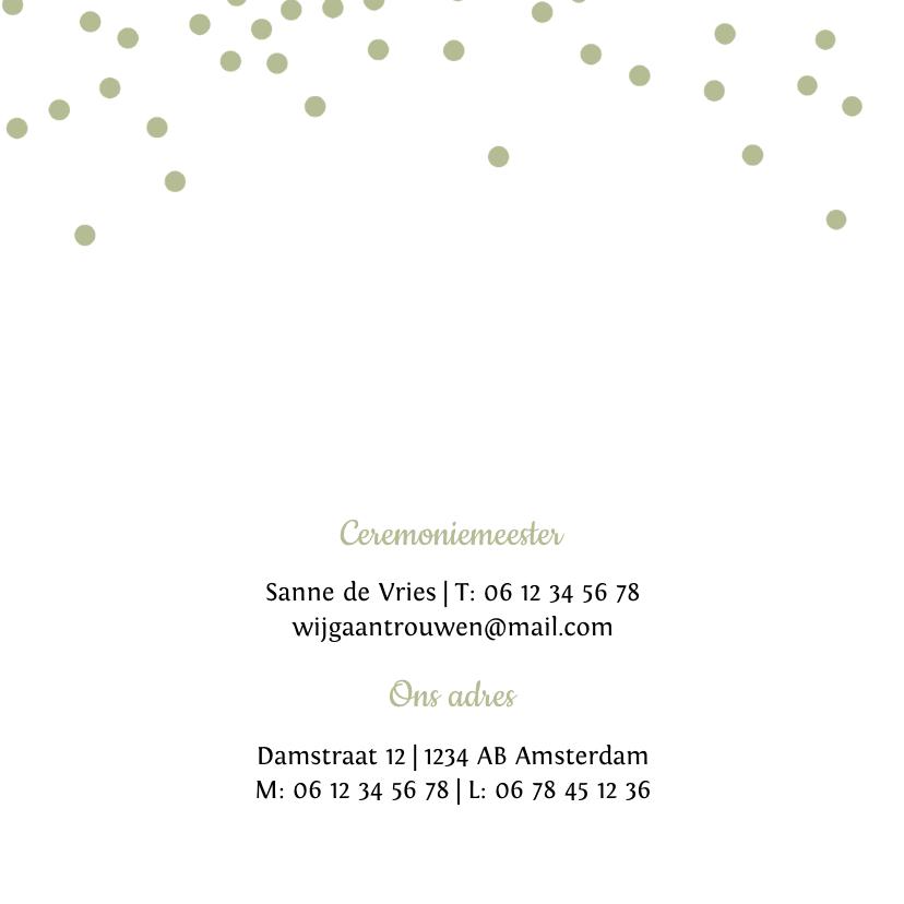 Trouwkaart met groene confetti 2
