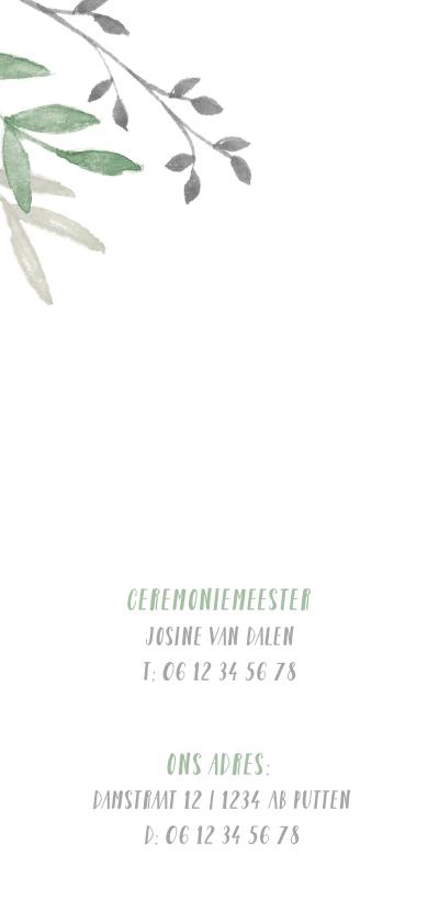 Trouwkaart met groene waterverf takjes 2