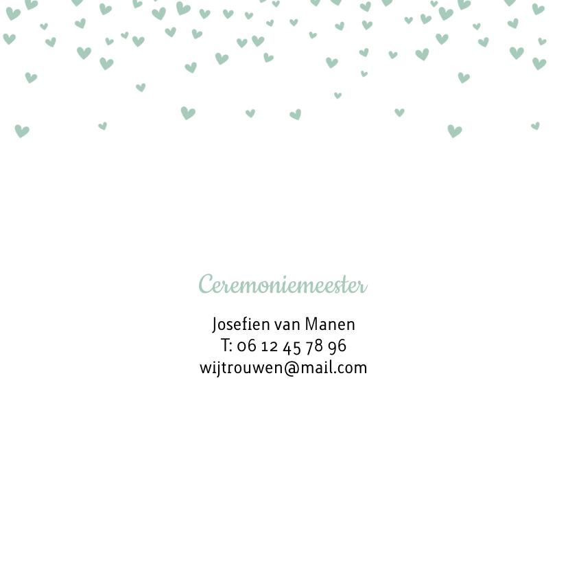 Trouwkaart met mintgroene hartjesconfetti 2