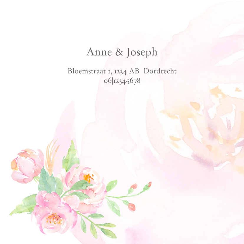 Trouwkaart met rozen aquarel 2