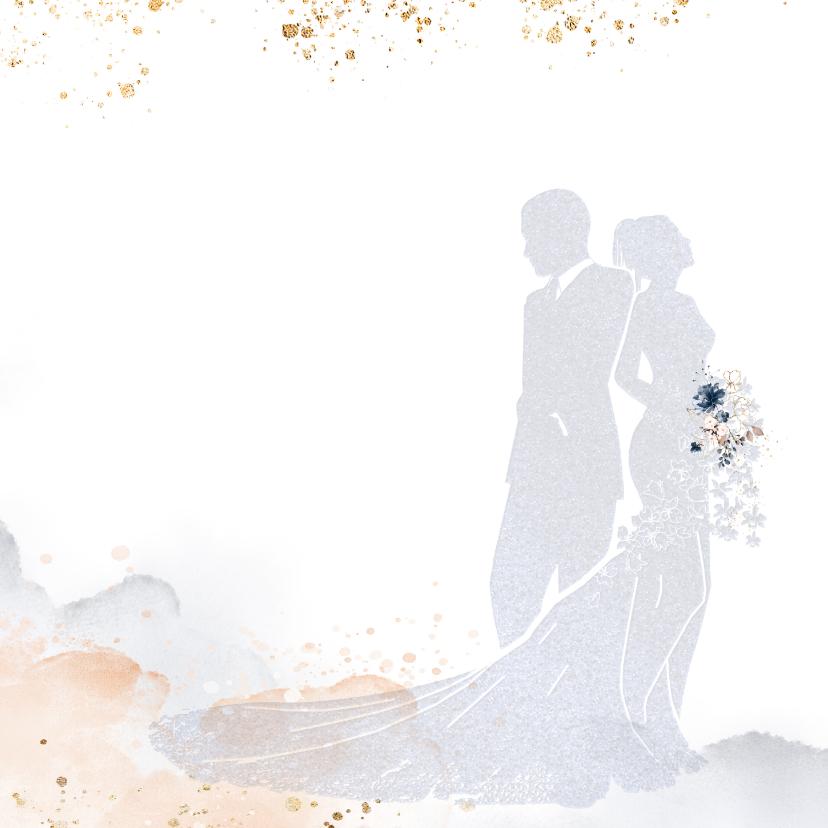 Trouwkaart met silhouet bruidspaar 2