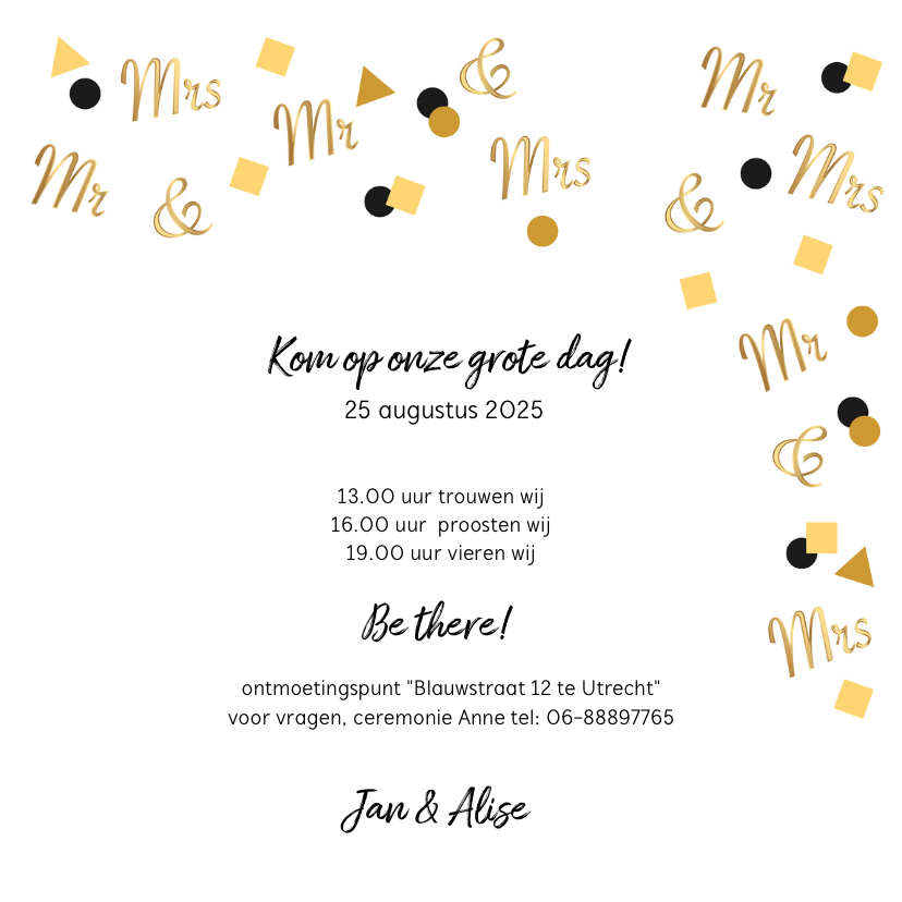 Trouwkaart Mr. & Mrs. in goud confetti 3