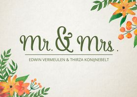 Trouwkaarten - Trouwkaart Mr. & Mrs. Bloemen
