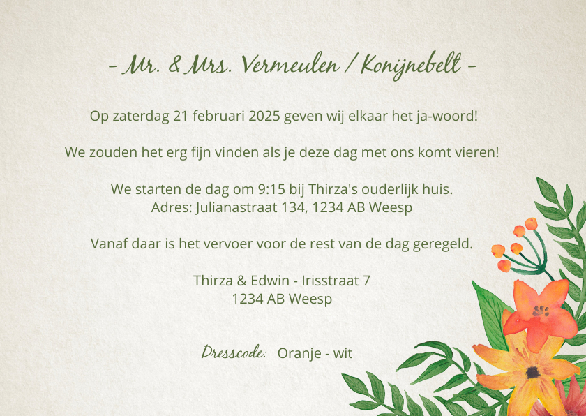 Trouwkaart Mr. & Mrs. Bloemen  3