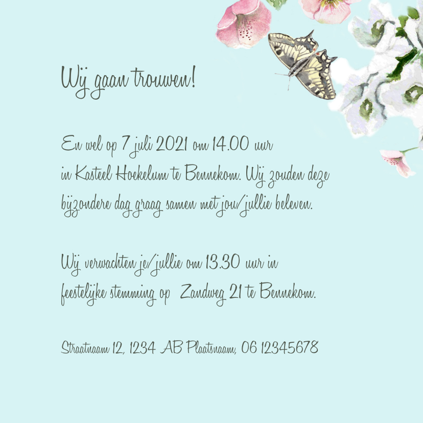 Trouwkaart Romantische bloemen vlinders 3