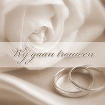 Trouwkaarten - Trouwkaart roos en ringen