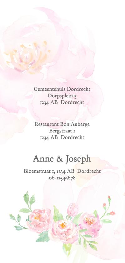 Trouwkaart rozen aquarel achterkant