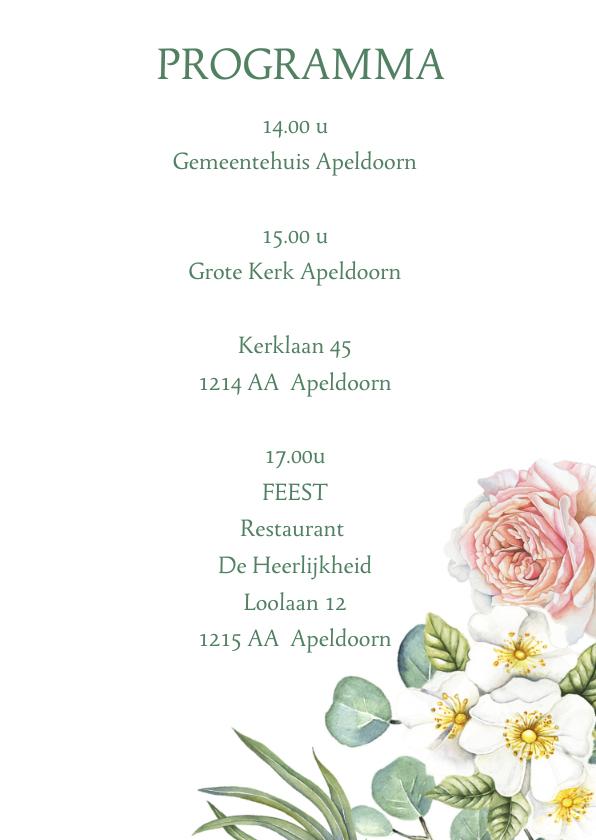 Trouwkaart rozen houtlook 3