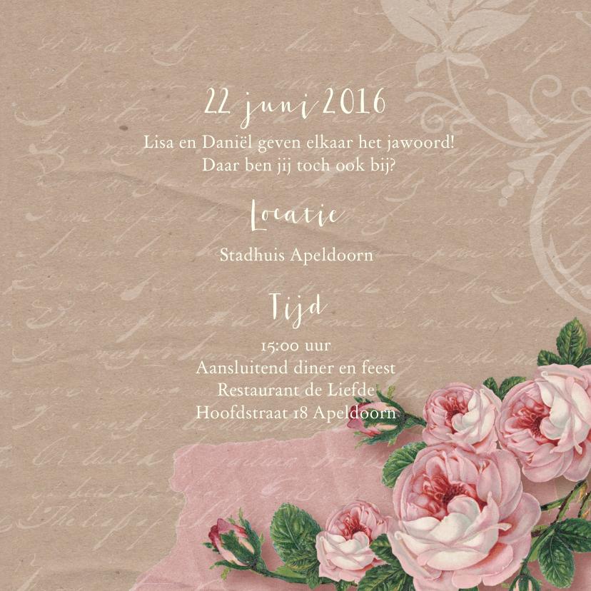 Trouwkaart rozen kraftlook foto 3