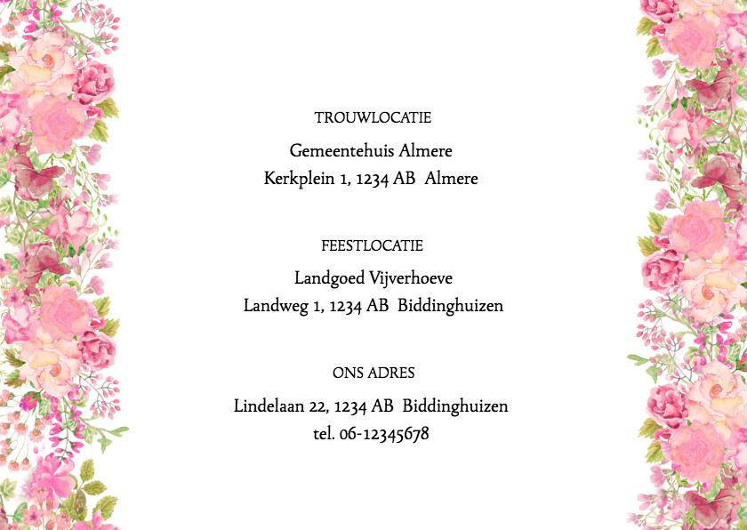 Trouwkaart rozen pastel 2