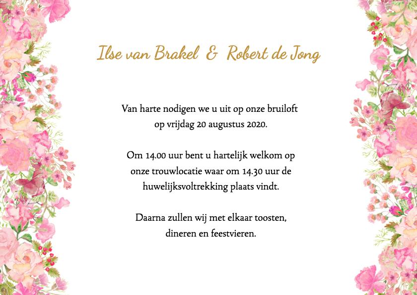 Trouwkaart rozen pastel 3