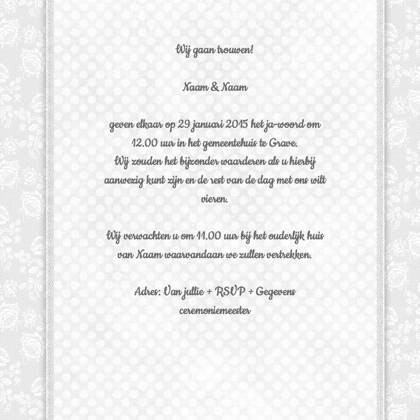 Trouwkaart rozen wit-grijs-groen 3