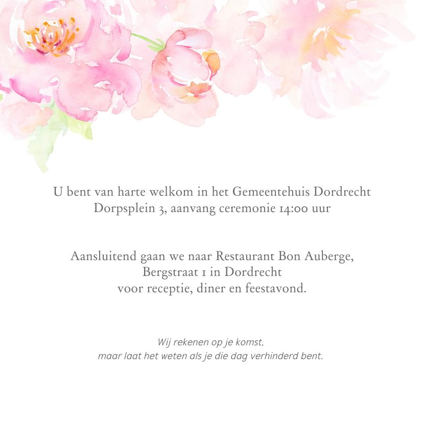Trouwkaart rozenrand in pastel op wit 3