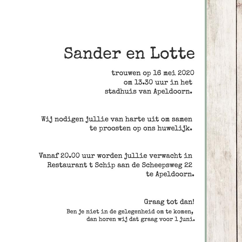 Trouwkaart Sander en Lotte 3