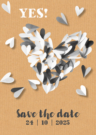 Trouwkaarten - Trouwkaart save the date hart