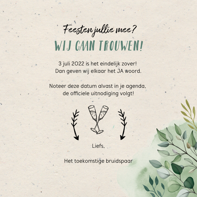 Trouwkaart save the date hip en trendy met illustraties 3