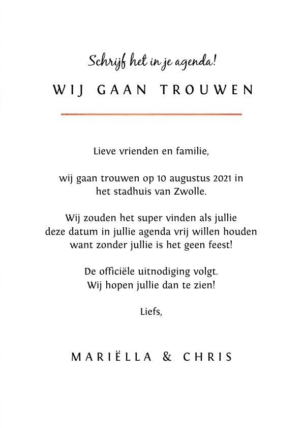 Trouwkaart save the date marmerlook met rosé goud letters 3