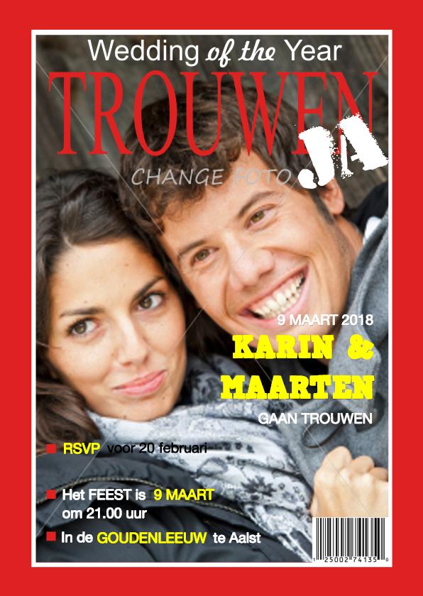 Trouwkaart tijdschrift eigen foto Rood   Trouwkaarten   Kaartje2go