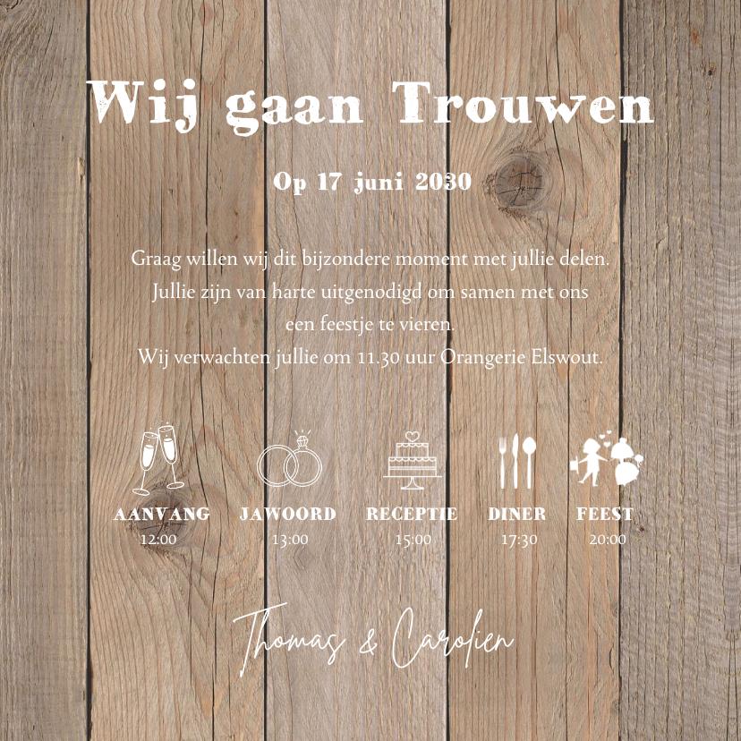 Trouwkaart typografie hartje houtlook 3