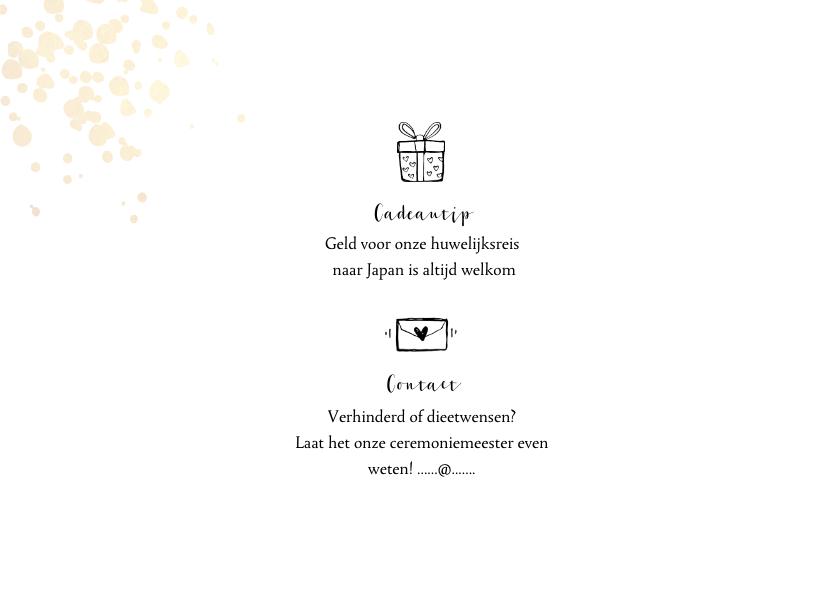 Trouwkaart uitnodiging goudlook tijdlijn met illustraties 2