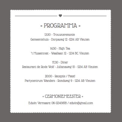 Trouwkaart uitnodiging Letters  2