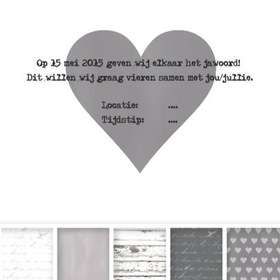 Trouwkaart Vakjes Grey & White 3