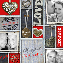 Trouwkaarten - trouwkaart vakken rood foto hart