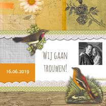 Trouwkaarten - Trouwkaart vintage collage-HR