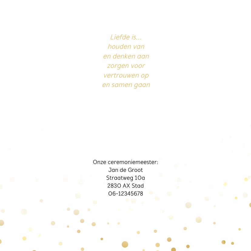 Trouwkaart wij gaan trouwen met foto goud 2