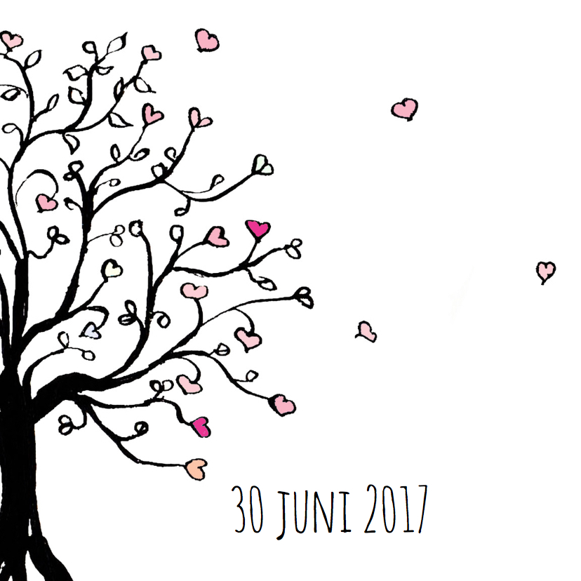 Trouwkaart zwart boom hartjes 2