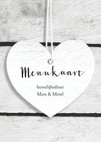 Menukaarten - Trouwmenu harten hout