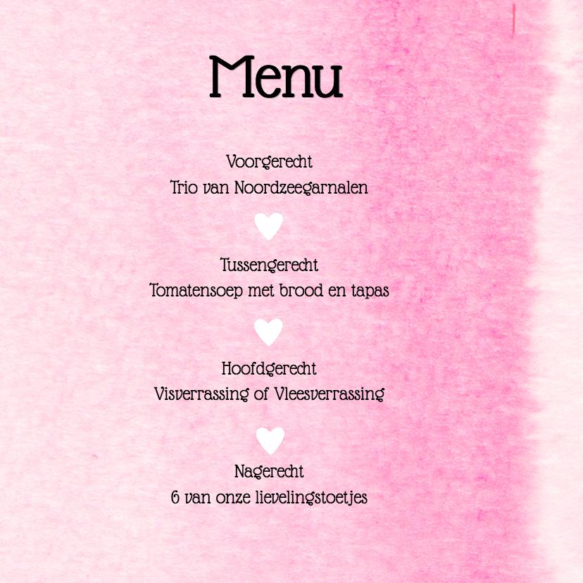 Trouwmenu roze aquarel hart 3
