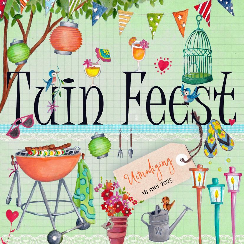 Populair Tuinfeest BBQ Party Tuin Feest Letters - Uitnodigingen - Kaartje2go VE85