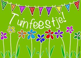Uitnodigingen - Tuinfeestje bloemen en slingers