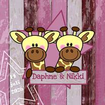 Geboortekaartjes - tweeling meisjes stoer giraf