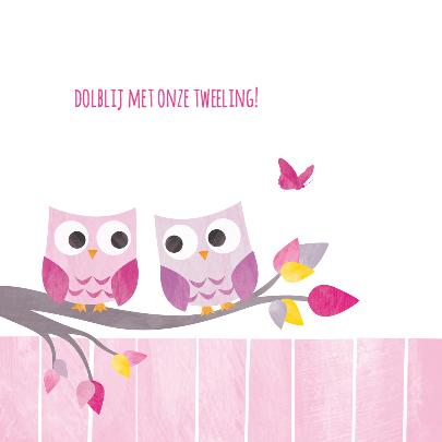 Tweeling meisjes uiltjes in boom 2