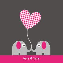 Geboortekaartjes - Tweeling olifantjes, meisjes