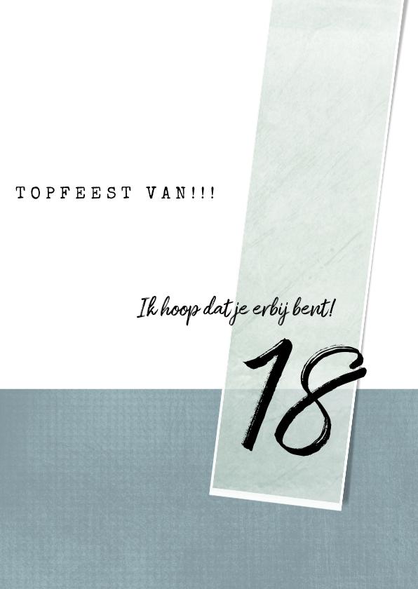 Uitnodiging 18e verjaardag, eenvoudig met leuke typografie 3