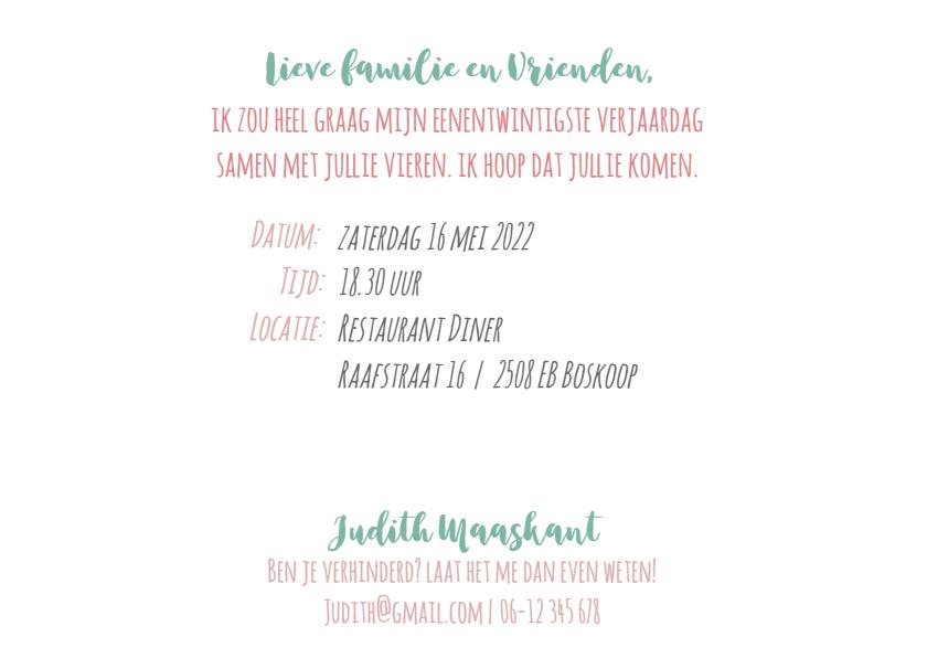 Uitnodiging 21 diner aanpasbaar geel memo 3