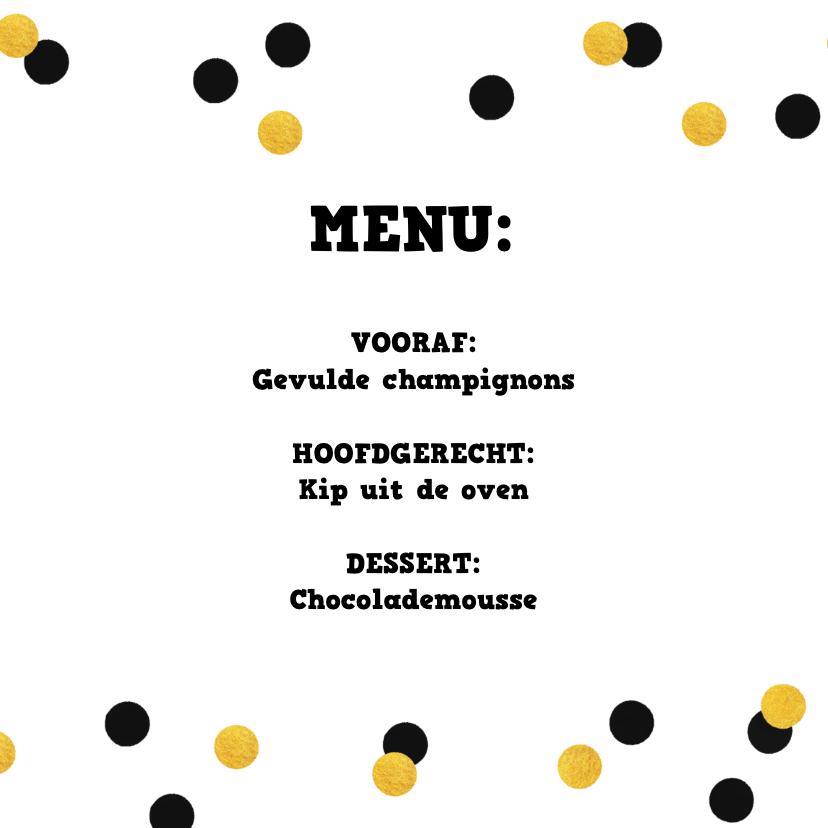 Uitnodiging 21-diner menukaart confetti goud zwart 2