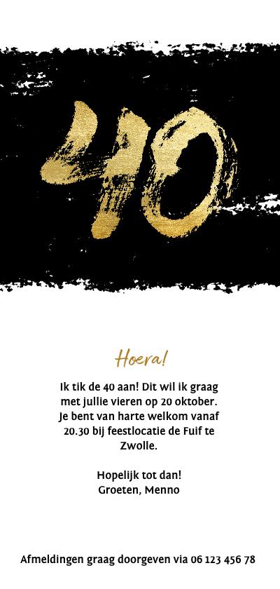 Uitnodiging 40 met zwarte inkt stoer Achterkant