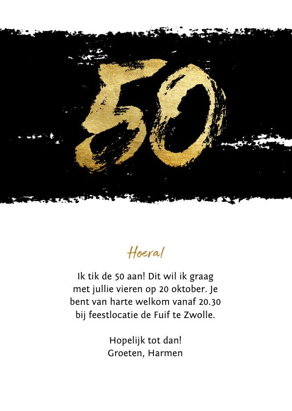 Uitnodiging 50 stoer met zwarte inkt 3