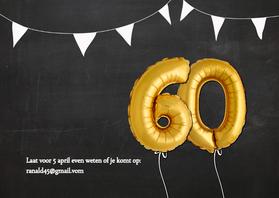 uitnodiging 60 jaar Uitnodiging 60 jaar Ballon goud   Uitnodigingen | Kaartje2go uitnodiging 60 jaar
