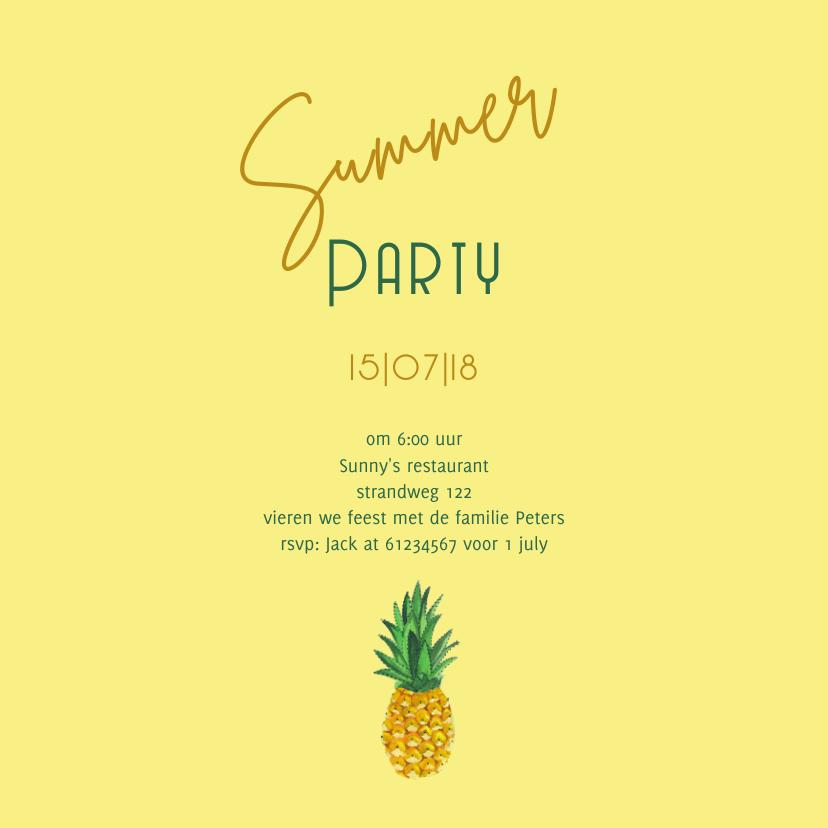 Uitnodiging Ananas trendy geel 3